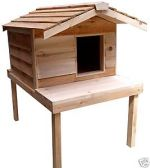 Large Insulated Outdoor Cedar Cat House with Lounging Deck